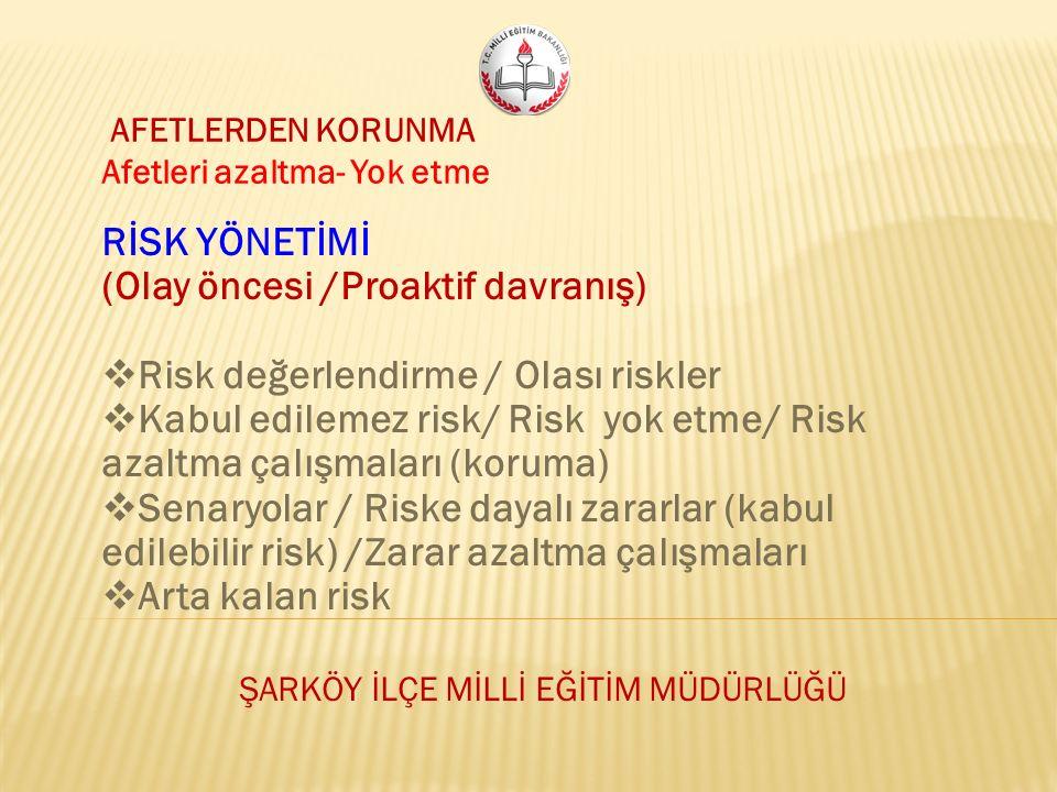 AFETLERDEN KORUNMA Afetleri azaltma- Yok etme RİSK YÖNETİMİ (Olay öncesi /Proaktif davranış)  Risk değerlendirme / Olası riskler  Kabul edilemez risk/ Risk yok etme/ Risk azaltma çalışmaları (koruma)  Senaryolar / Riske dayalı zararlar (kabul edilebilir risk) /Zarar azaltma çalışmaları  Arta kalan risk ŞARKÖY İLÇE MİLLİ EĞİTİM MÜDÜRLÜĞÜ