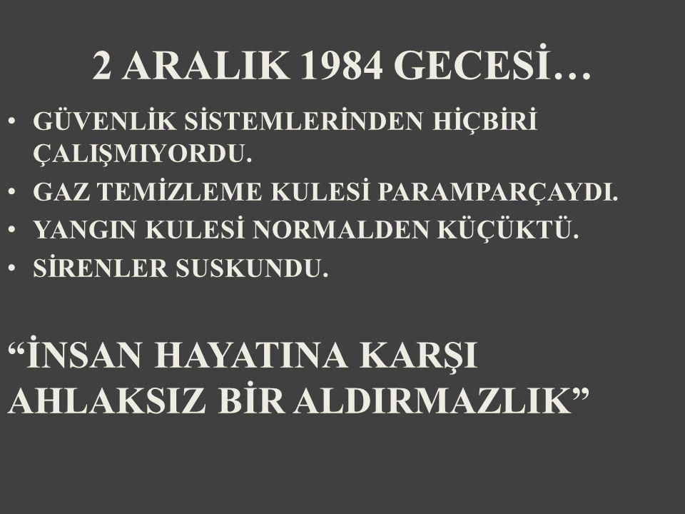 2 ARALIK 1984 GECESİ… GÜVENLİK SİSTEMLERİNDEN HİÇBİRİ ÇALIŞMIYORDU.