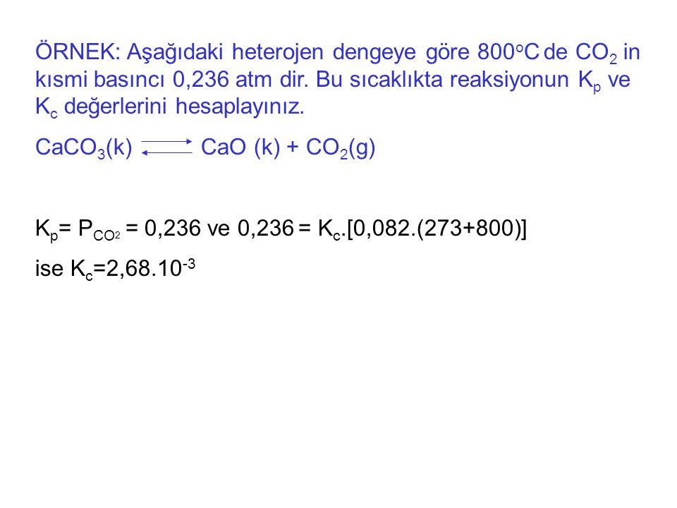ÖRNEK: Aşağıdaki heterojen dengeye göre 800 o C de CO 2 in kısmi basıncı 0,236 atm dir.