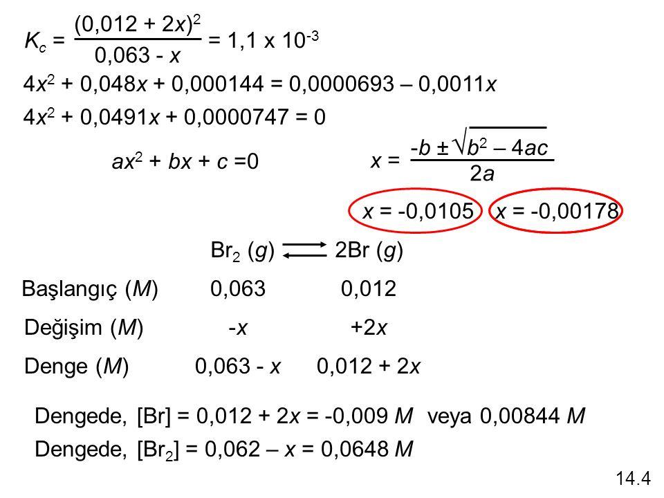K c = (0,012 + 2x) 2 0,063 - x = 1,1 x 10 -3 4x 2 + 0,048x + 0,000144 = 0,0000693 – 0,0011x 4x 2 + 0,0491x + 0,0000747 = 0 ax 2 + bx + c =0 -b ± b 2 – 4ac  2a2a x = Br 2 (g) 2Br (g) Başlangıç (M) Değişim (M) Denge (M) 0,0630,012 -x-x+2x 0,063 - x0,012 + 2x x = -0,00178x = -0,0105 Dengede, [Br] = 0,012 + 2x = -0,009 Mveya 0,00844 M Dengede, [Br 2 ] = 0,062 – x = 0,0648 M 14.4