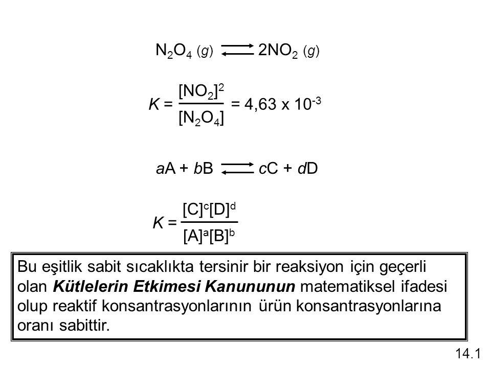 N 2 O 4 (g) 2NO 2 (g) = 4,63 x 10 -3 K = [NO 2 ] 2 [N 2 O 4 ] aA + bB cC + dD K = [C] c [D] d [A] a [B] b Bu eşitlik sabit sıcaklıkta tersinir bir reaksiyon için geçerli olan Kütlelerin Etkimesi Kanununun matematiksel ifadesi olup reaktif konsantrasyonlarının ürün konsantrasyonlarına oranı sabittir.