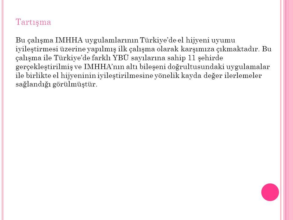 Tartışma Bu çalışma IMHHA uygulamlarının Türkiye'de el hijyeni uyumu iyileştirmesi üzerine yapılmış ilk çalışma olarak karşımıza çıkmaktadır.