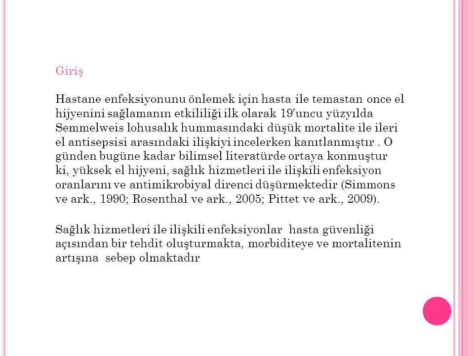 Türkiye'de daha once el hijyeni uyumuna yönelik bir çalışma bulunmamaktadır.