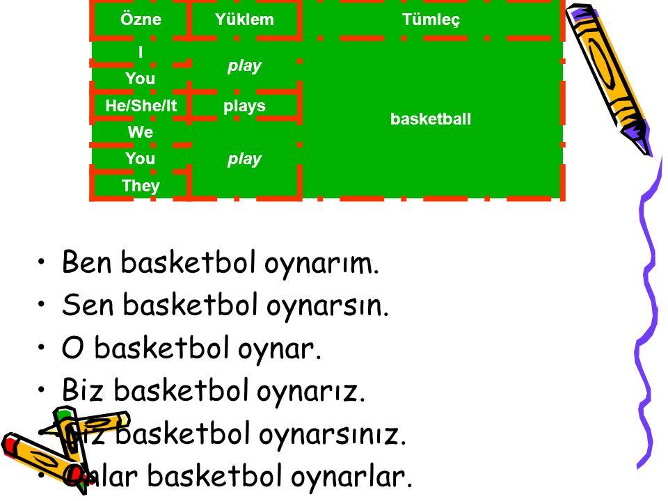 ÖzneYüklemTümleç I play basketball You He/She/Itplays We play You They Ben basketbol oynarım. Sen basketbol oynarsın. O basketbol oynar. Biz basketbol