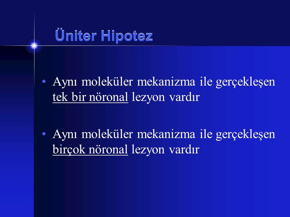 Üniter Hipotez Aynı moleküler mekanizma ile gerçekleşen tek bir nöronal lezyon vardır Aynı moleküler mekanizma ile gerçekleşen birçok nöronal lezyon v