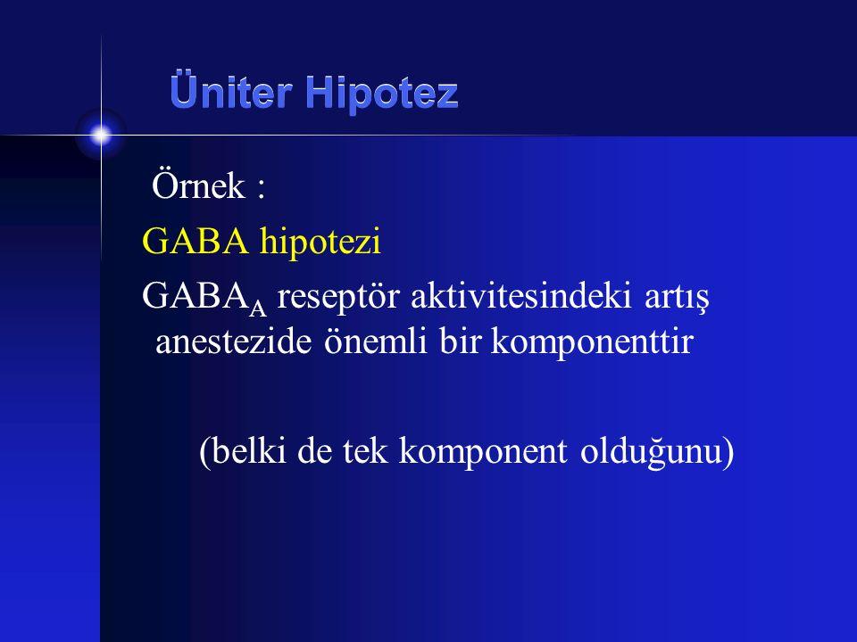 Üniter Hipotez Örnek : GABA hipotezi GABA A reseptör aktivitesindeki artış anestezide önemli bir komponenttir (belki de tek komponent olduğunu)
