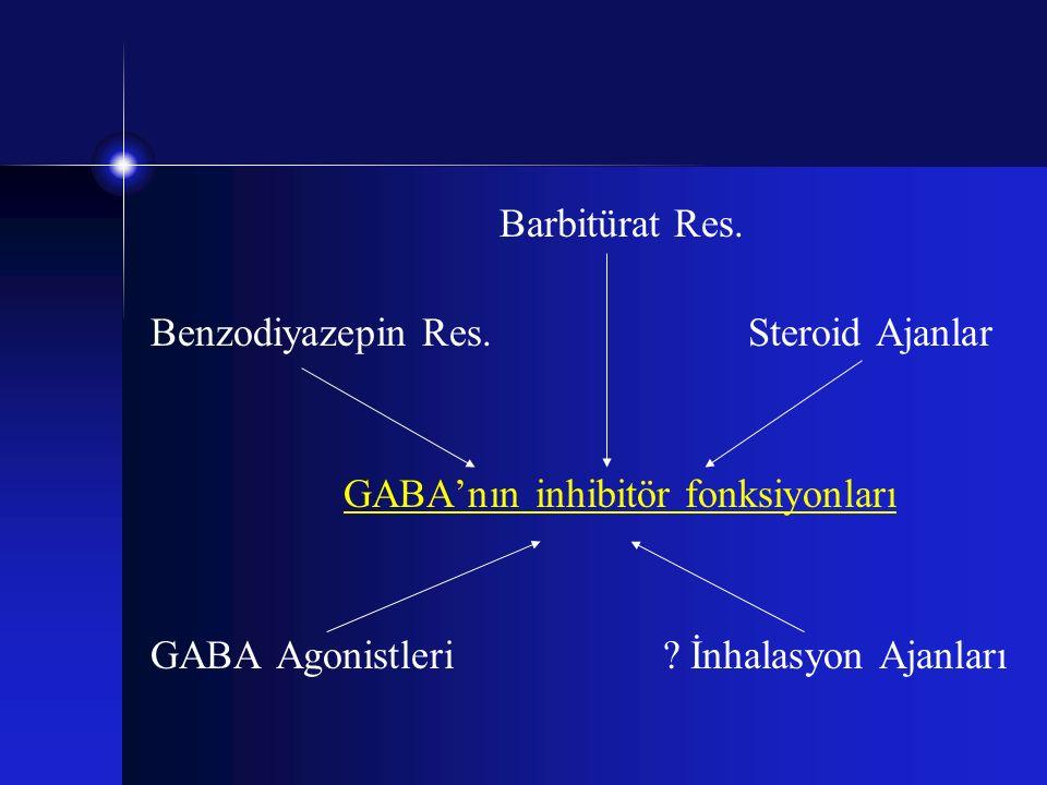Barbitürat Res. Benzodiyazepin Res. Steroid Ajanlar GABA'nın inhibitör fonksiyonları GABA Agonistleri ? İnhalasyon Ajanları