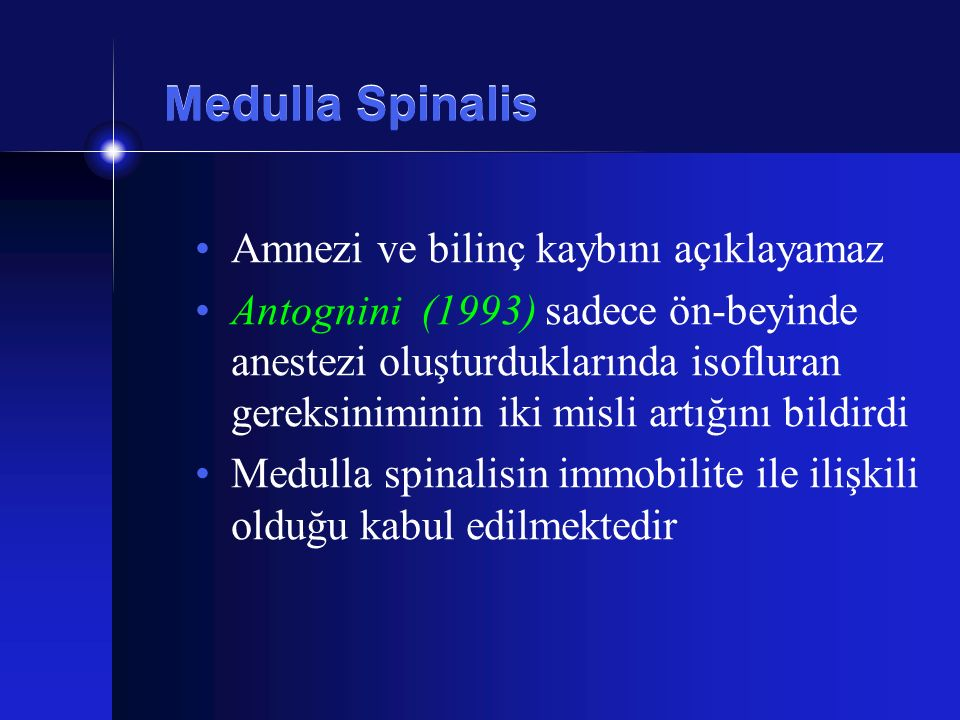 Medulla Spinalis Amnezi ve bilinç kaybını açıklayamaz Antognini (1993) sadece ön-beyinde anestezi oluşturduklarında isofluran gereksiniminin iki misli