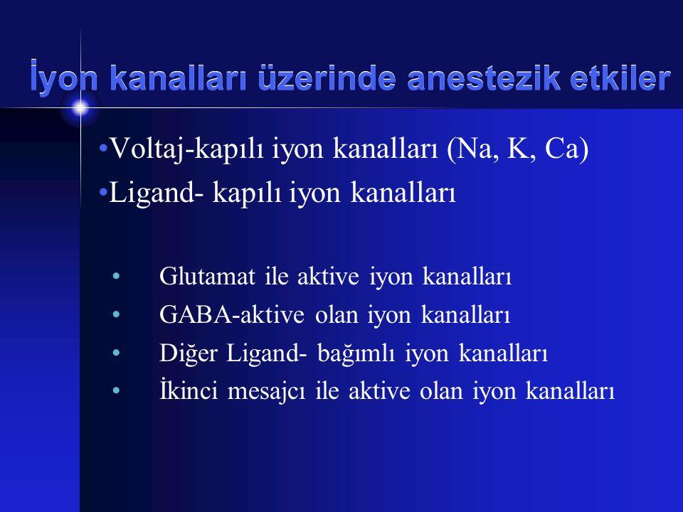İyon kanalları üzerinde anestezik etkiler Voltaj-kapılı iyon kanalları (Na, K, Ca) Ligand- kapılı iyon kanalları Glutamat ile aktive iyon kanalları GA