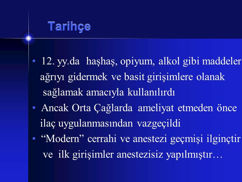 Tarihçe 12. yy.da haşhaş, opiyum, alkol gibi maddeler ağrıyı gidermek ve basit girişimlere olanak sağlamak amacıyla kullanılırdı Ancak Orta Çağlarda a