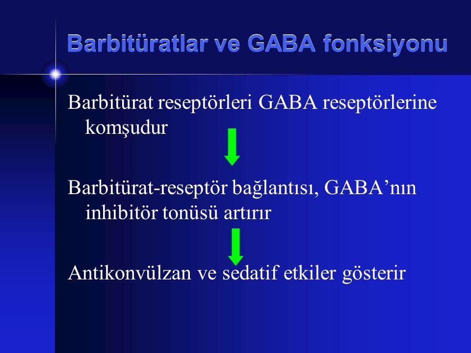 Barbitüratlar ve GABA fonksiyonu Barbitürat reseptörleri GABA reseptörlerine komşudur Barbitürat-reseptör bağlantısı, GABA'nın inhibitör tonüsü artırı
