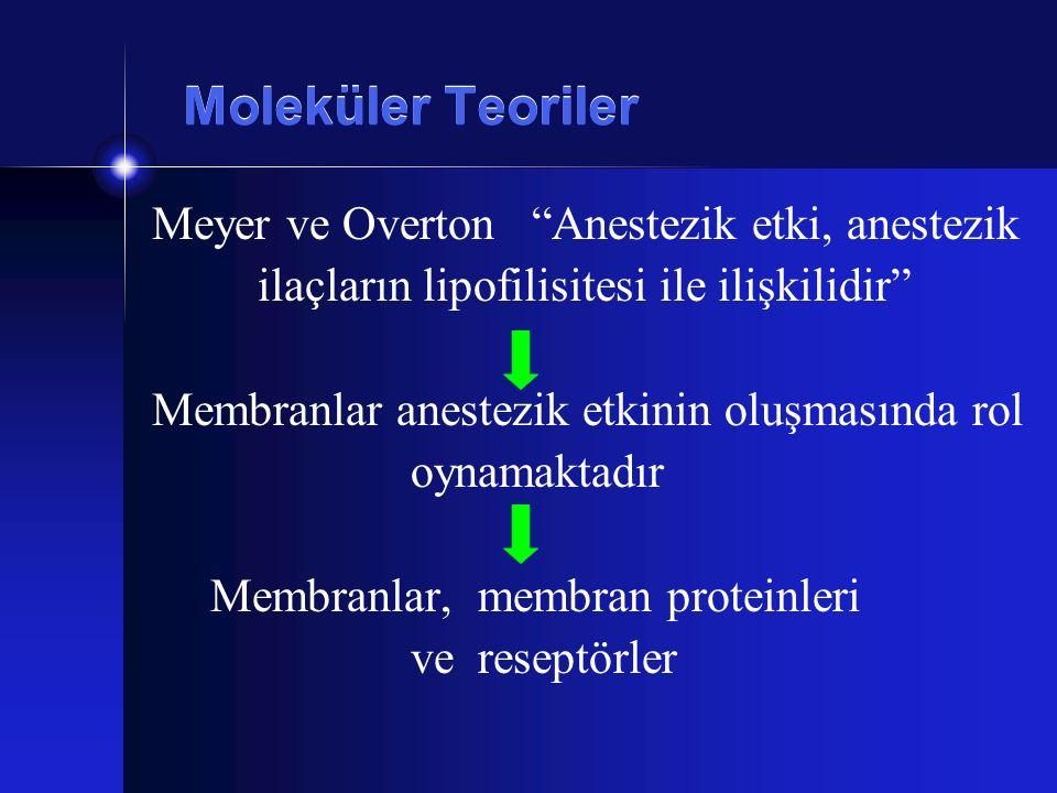"""Moleküler Teoriler Meyer ve Overton """"Anestezik etki, anestezik ilaçların lipofilisitesi ile ilişkilidir"""" Membranlar anestezik etkinin oluşmasında rol"""