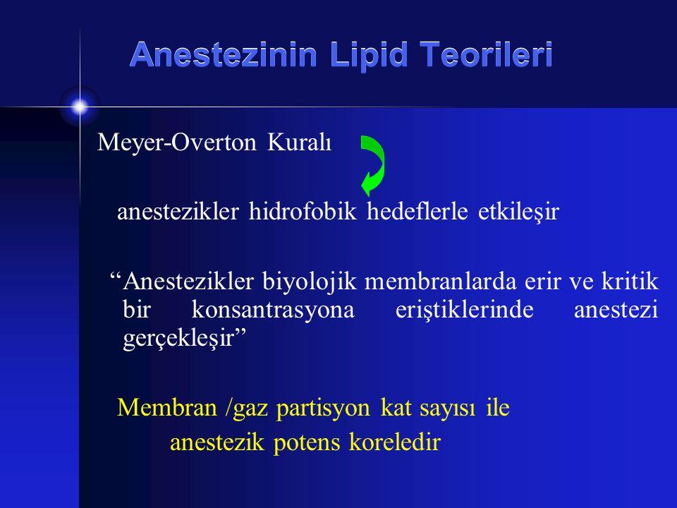 """Anestezinin Lipid Teorileri Meyer-Overton Kuralı anestezikler hidrofobik hedeflerle etkileşir """"Anestezikler biyolojik membranlarda erir ve kritik bir"""