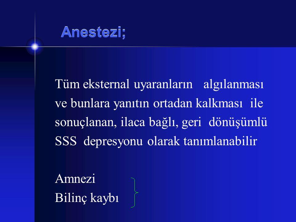 Anestezi; Tüm eksternal uyaranların algılanması ve bunlara yanıtın ortadan kalkması ile sonuçlanan, ilaca bağlı, geri dönüşümlü SSS depresyonu olarak
