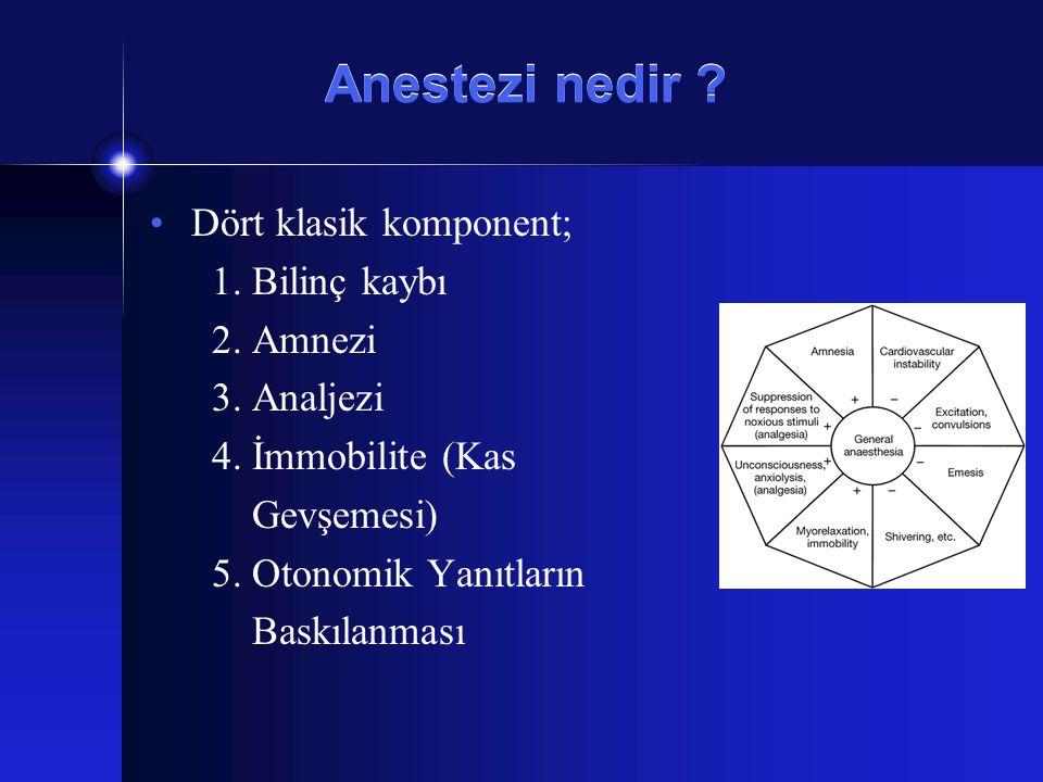 Anestezi nedir ? Dört klasik komponent; 1. Bilinç kaybı 2. Amnezi 3. Analjezi 4. İmmobilite (Kas Gevşemesi) 5. Otonomik Yanıtların Baskılanması