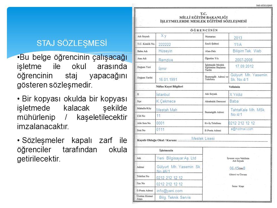X y 222222 Hüseyin Remziye İzmir 16.01.1991 2013 11/A Bilişim Tek. Web 2007-2008 17.09.2012 Gülyurt Mh. Yasemin. Sk. No:4/1 İstanbul K.Çekmece Mestah