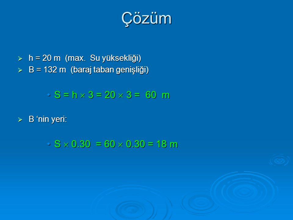 Çözüm  h = 20 m (max. Su yüksekliği)  B = 132 m (baraj taban genişliği) S = h  3 = 20  3 = 60 mS = h  3 = 20  3 = 60 m  B 'nin yeri: S  0.30 =