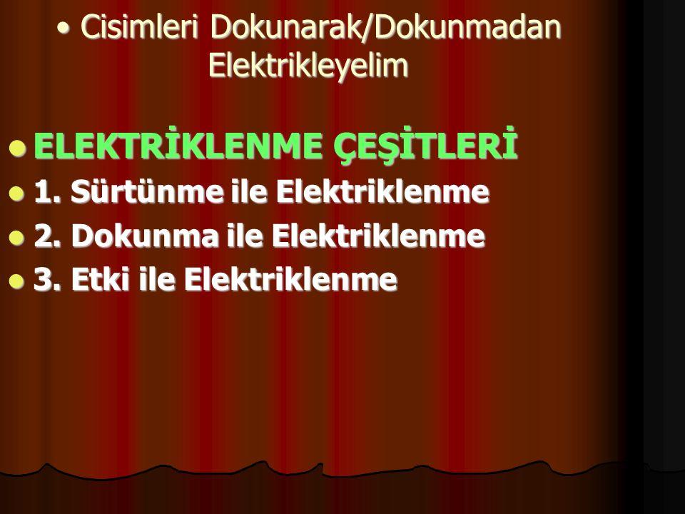 Cisimleri Dokunarak/Dokunmadan Elektrikleyelim Cisimleri Dokunarak/Dokunmadan Elektrikleyelim ELEKTRİKLENME ÇEŞİTLERİ ELEKTRİKLENME ÇEŞİTLERİ 1. Sürtü
