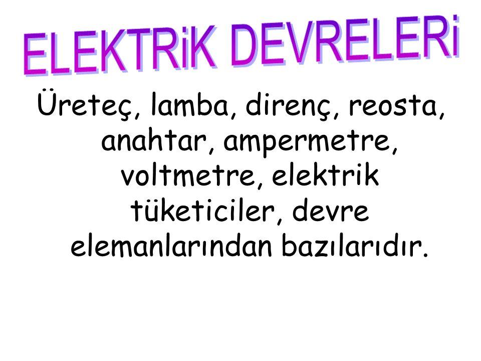 Üreteç, lamba, direnç, reosta, anahtar, ampermetre, voltmetre, elektrik tüketiciler, devre elemanlarından bazılarıdır.
