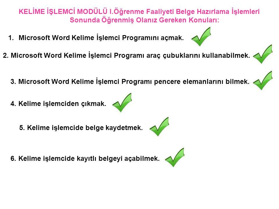 KELİME İŞLEMCİ MODÜLÜ I.Öğrenme Faaliyeti Belge Hazırlama İşlemleri Sonunda Öğrenmiş Olanız Gereken Konuları: 3. Microsoft Word Kelime İşlemci Program