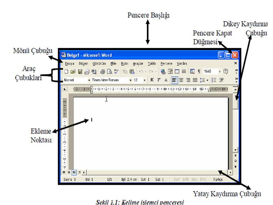 Belge Yazma: Kelime işlemcide bir sayfa oluşturarak istenilen yazının klâvye kullanılarak yazılması işlemidir.