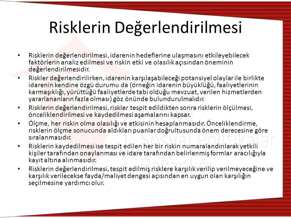 Risklerin Değerlendirilmesi Risklerin değerlendirilmesi, idarenin hedeflerine ulaşmasını etkileyebilecek faktörlerin analiz edilmesi ve riskin etki ve olasılık açısından öneminin değerlendirilmesidir.