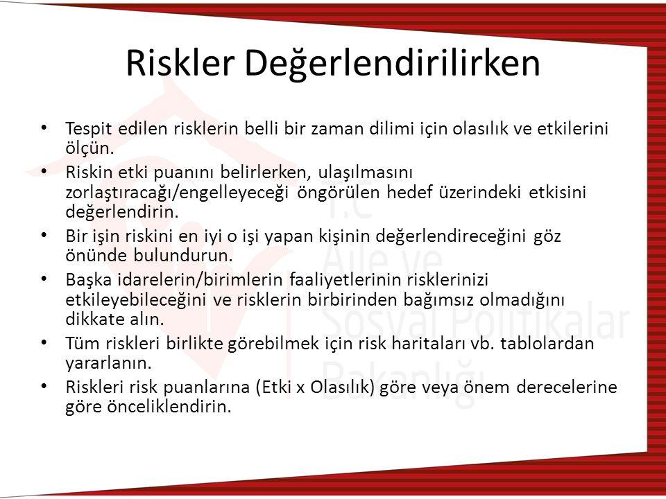 Riskler Değerlendirilirken Tespit edilen risklerin belli bir zaman dilimi için olasılık ve etkilerini ölçün.