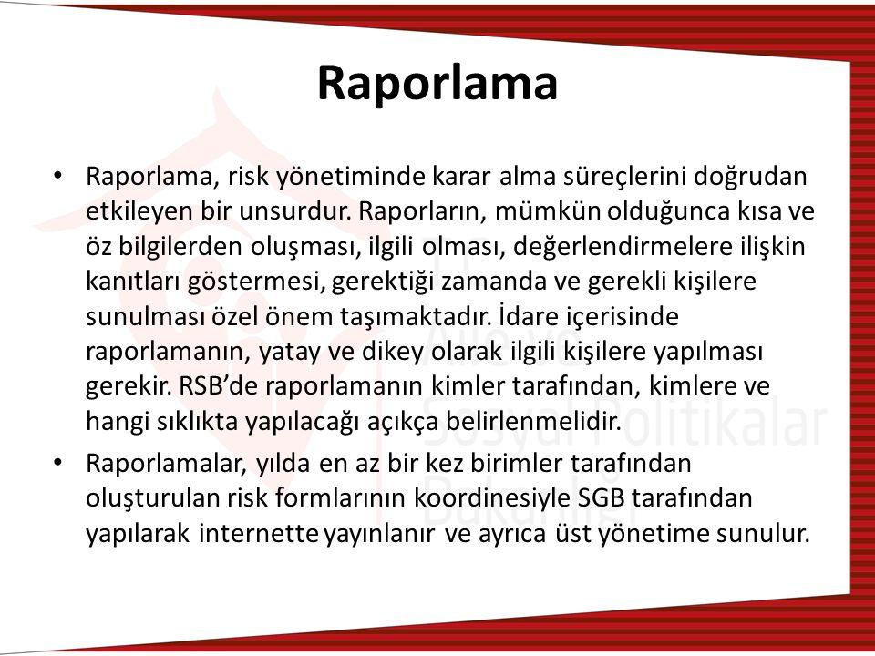 Raporlama Raporlama, risk yönetiminde karar alma süreçlerini doğrudan etkileyen bir unsurdur.
