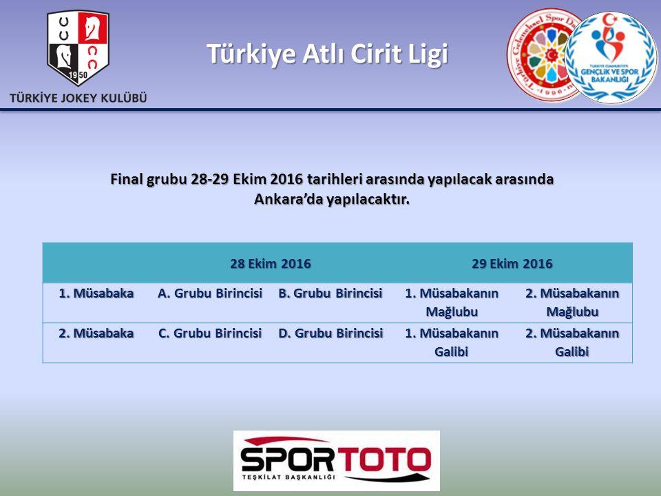 Türkiye Atlı Cirit Ligi 28 Ekim 2016 29 Ekim 2016 1. Müsabaka A. Grubu Birincisi B. Grubu Birincisi 1. Müsabakanın Mağlubu 2. Müsabakanın Mağlubu 2. M