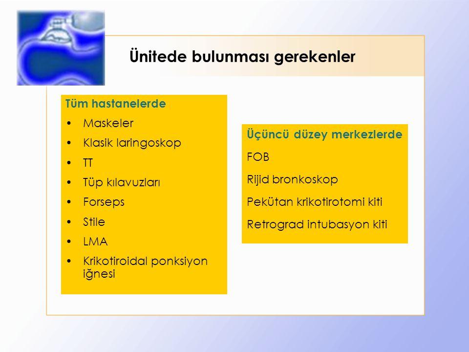 Ünitede bulunması gerekenler Tüm hastanelerde Maskeler Klasik laringoskop TT Tüp kılavuzları Forseps Stile LMA Krikotiroidal ponksiyon iğnesi Üçüncü düzey merkezlerde FOB Rijid bronkoskop Pekütan krikotirotomi kiti Retrograd intubasyon kiti