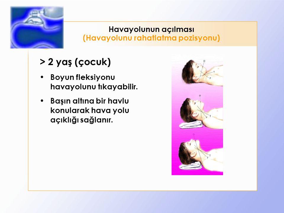 > 2 yaş (çocuk) Boyun fleksiyonu havayolunu tıkayabilir.