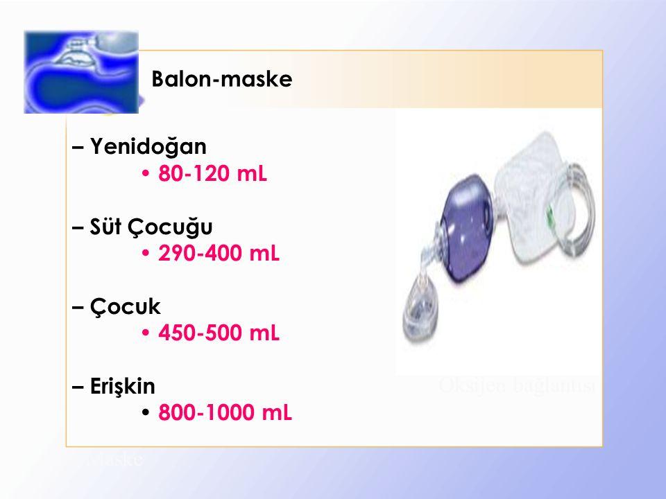 Balon-maske Maske Balon Oksijen bağlantısı – Yenidoğan 80-120 mL – Süt Çocuğu 290-400 mL – Çocuk 450-500 mL – Erişkin 800-1000 mL
