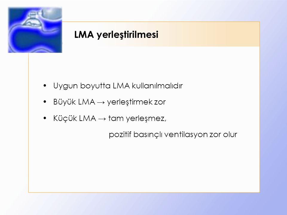 LMA yerleştirilmesi Uygun boyutta LMA kullanılmalıdır Büyük LMA → yerleştirmek zor Küçük LMA → tam yerleşmez, pozitif basınçlı ventilasyon zor olur