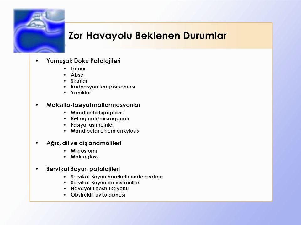 Zor Havayolu Beklenen Durumlar Yumuşak Doku Patolojileri Tümör Abse Skarlar Radyasyon terapisi sonrası Yanıklar Maksillo-fasiyal malformasyonlar Mandibula hipoplazisi Retroginati/mikroganati Fasiyal asimetriler Mandibular eklem ankylosis Ağız, dil ve diş anamolileri Mikrostomi Makrogloss Servikal Boyun patolojileri Servikal Boyun hareketlerinde azalma Servikal Boyun da instabilite Havayolu obstruksiyonu Obstruktif uyku apnesi