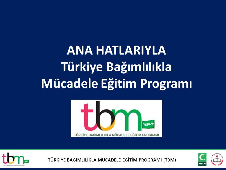 2 ANA HATLARIYLA Türkiye Bağımlılıkla Mücadele Eğitim Programı TÜRKİYE BAĞIMLILIKLA MÜCADELE EĞİTİM PROGRAMI (TBM)