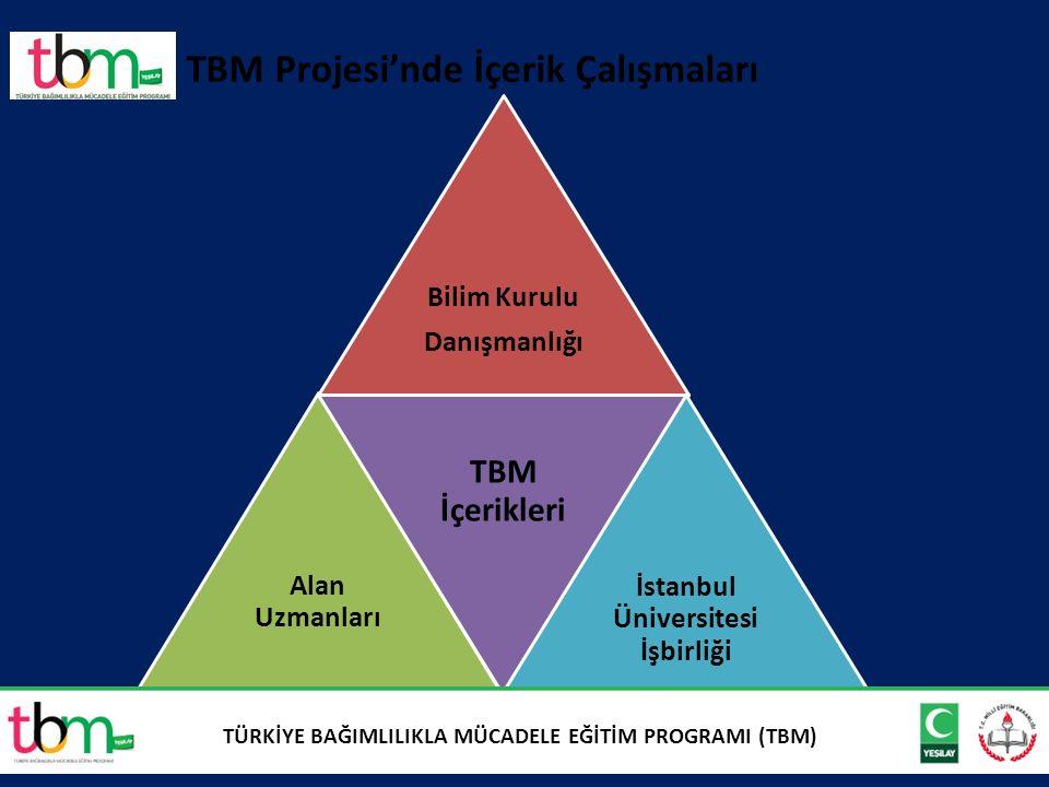 7 TBM Projesi'nde İçerik Çalışmaları Bilim Kurulu Danışmanlığı Alan Uzmanları TBM İçerikleri İstanbul Üniversitesi İşbirliği TÜRKİYE BAĞIMLILIKLA MÜCADELE EĞİTİM PROGRAMI (TBM)