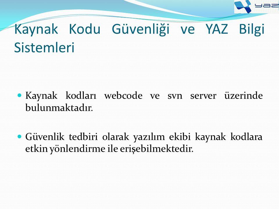 Kaynak Kodu Güvenliği ve YAZ Bilgi Sistemleri Kaynak kodları webcode ve svn server üzerinde bulunmaktadır.