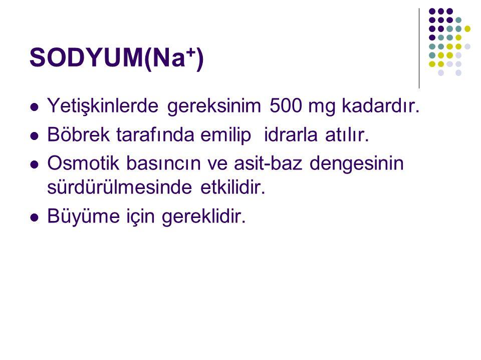 SODYUM(Na + ) Yetişkinlerde gereksinim 500 mg kadardır. Böbrek tarafında emilip idrarla atılır. Osmotik basıncın ve asit-baz dengesinin sürdürülmesind
