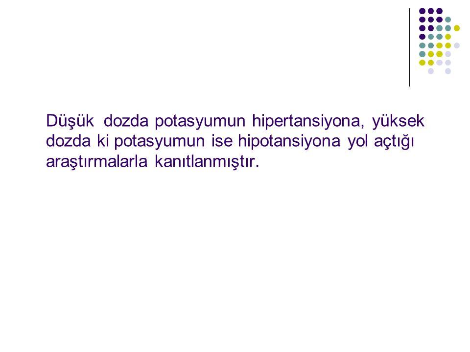 Düşük dozda potasyumun hipertansiyona, yüksek dozda ki potasyumun ise hipotansiyona yol açtığı araştırmalarla kanıtlanmıştır.