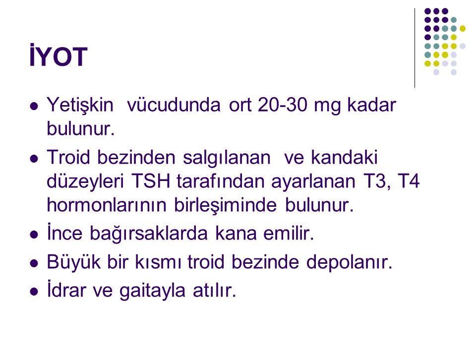 İYOT Yetişkin vücudunda ort 20-30 mg kadar bulunur. Troid bezinden salgılanan ve kandaki düzeyleri TSH tarafından ayarlanan T3, T4 hormonlarının birle