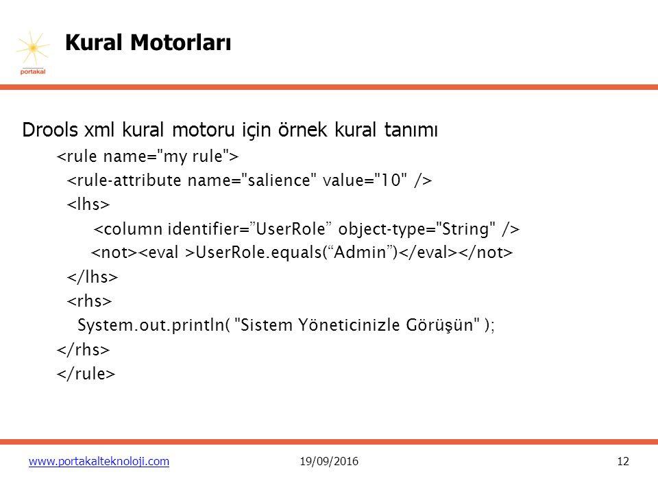 12 www.portakalteknoloji.com19/09/2016 Kural Motorları Drools xml kural motoru için örnek kural tanımı UserRole.equals( Admin ) System.out.println( Sistem Yöneticinizle Görü ş ün );