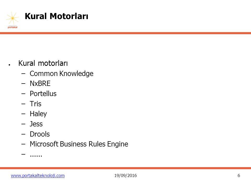 17 www.portakalteknoloji.com19/09/2016 Kural Motorları Standart : JSR94 Java Rule Engine API uyumlu motorlar –Drools –Fair Isaac Blaze Advisor –ILOG JRules –Jess