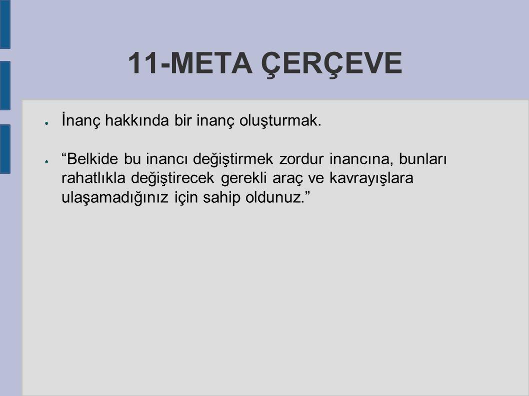 11-META ÇERÇEVE ● İnanç hakkında bir inanç oluşturmak.