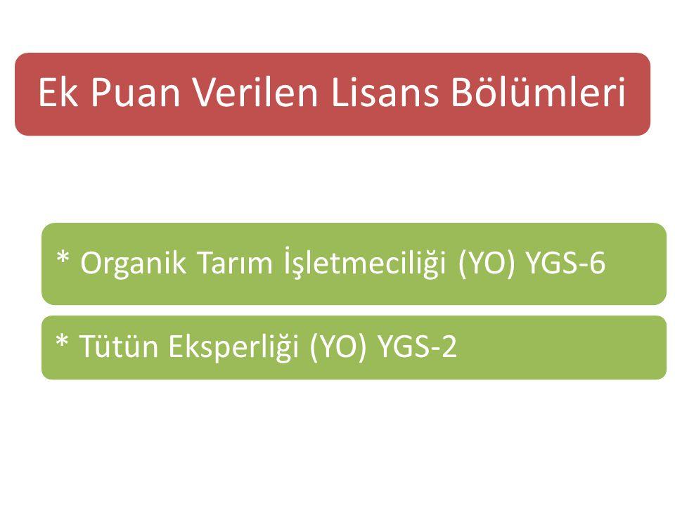 Ek Puan Verilen Lisans Bölümleri * Organik Tarım İşletmeciliği (YO) YGS-6 * Tütün Eksperliği (YO) YGS-2