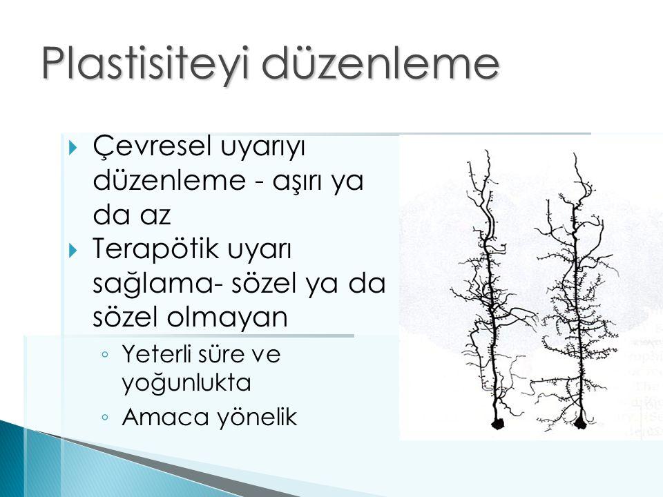 Plastisiteyi düzenleme  Çevresel uyarıyı düzenleme - aşırı ya da az  Terapötik uyarı sağlama- sözel ya da sözel olmayan ◦ Yeterli süre ve yoğunlukta