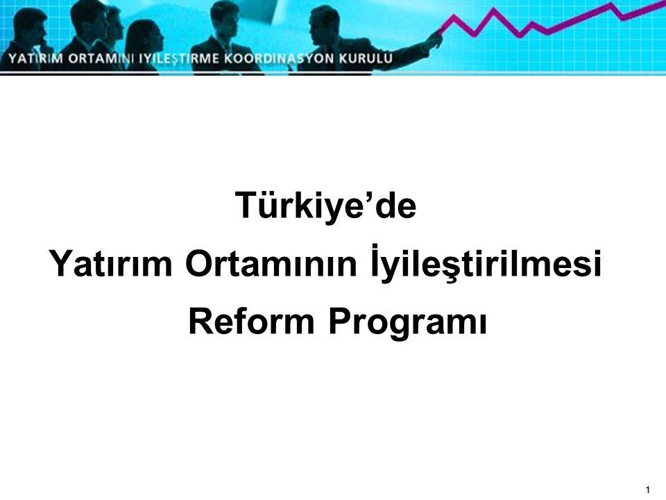 1 Türkiye'de Yatırım Ortamının İyileştirilmesi Reform Programı