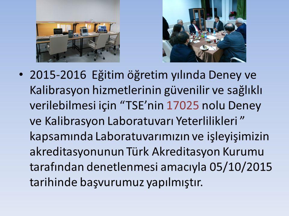 """2015-2016 Eğitim öğretim yılında Deney ve Kalibrasyon hizmetlerinin güvenilir ve sağlıklı verilebilmesi için """"TSE'nin 17025 nolu Deney ve Kalibrasyon"""