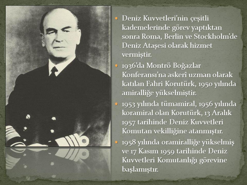Deniz Kuvvetleri'nin çeşitli kademelerinde görev yaptıktan sonra Roma, Berlin ve Stockholm'de Deniz Ataşesi olarak hizmet vermiştir.