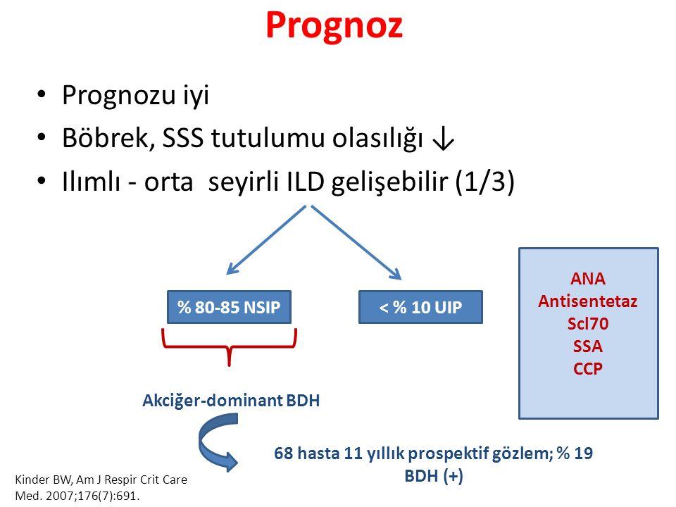 Prognoz Prognozu iyi Böbrek, SSS tutulumu olasılığı ↓ Ilımlı - orta seyirli ILD gelişebilir (1/3) % 80-85 NSIP< % 10 UIP Akciğer-dominant BDH 68 hasta