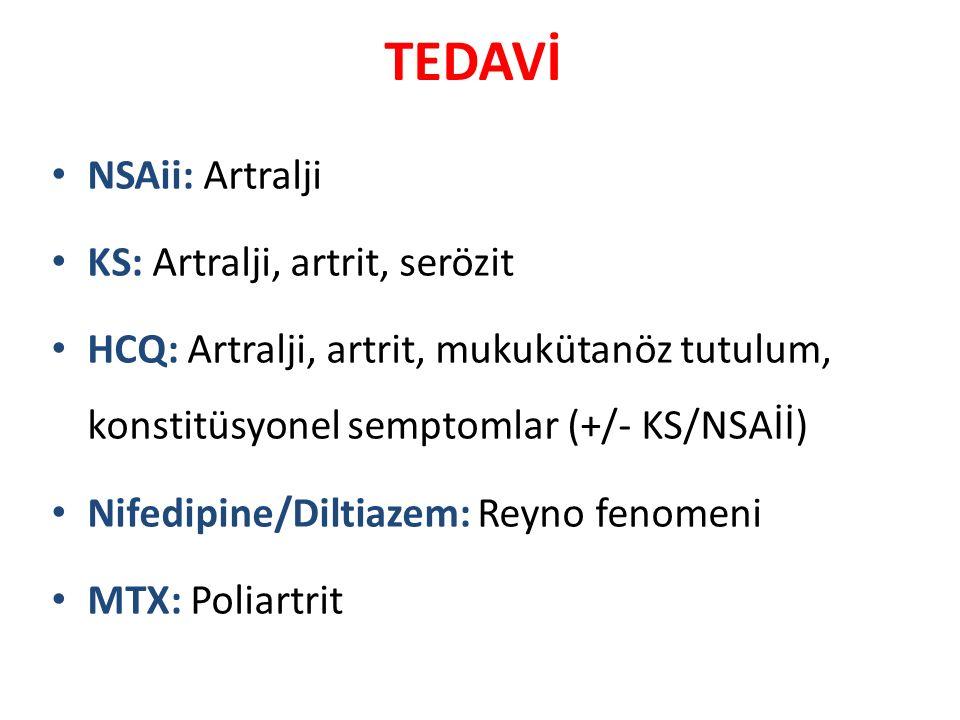 TEDAVİ NSAii: Artralji KS: Artralji, artrit, serözit HCQ: Artralji, artrit, mukukütanöz tutulum, konstitüsyonel semptomlar (+/- KS/NSAİİ) Nifedipine/D